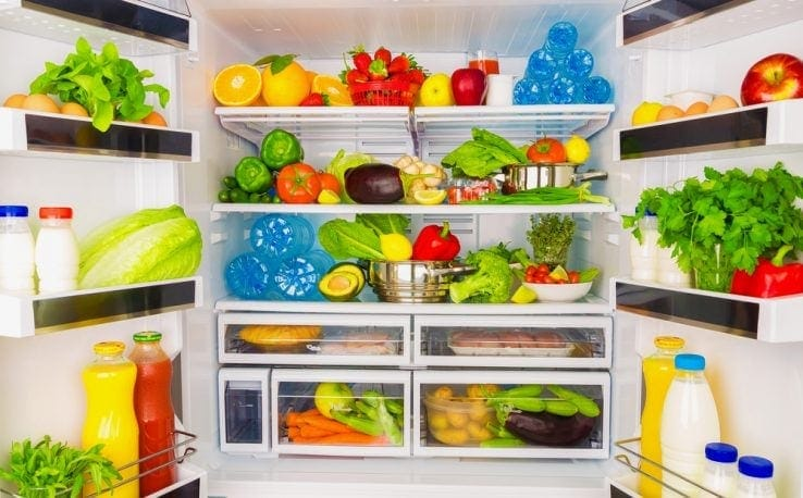 A full fridge of healthy foods