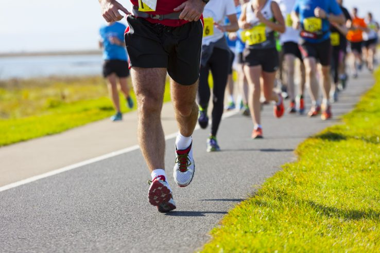 A group of runners doing a half marathon
