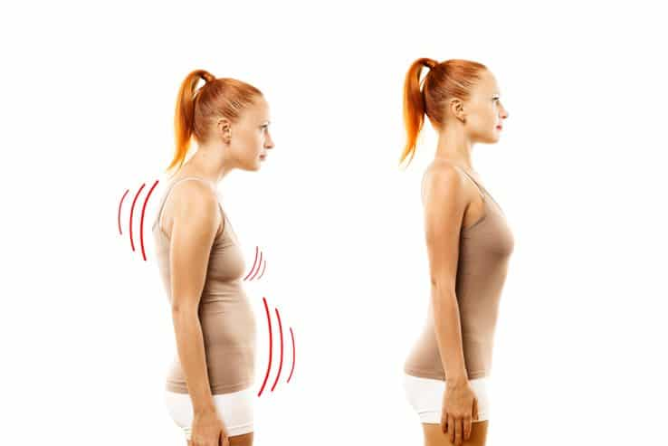 Image showing a good and bad example of posture while standing up