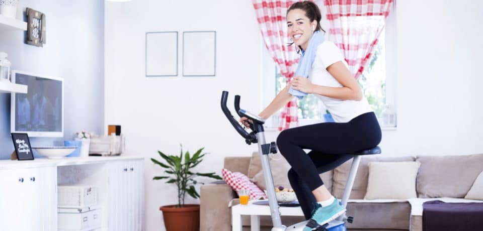 a girl exercising at home
