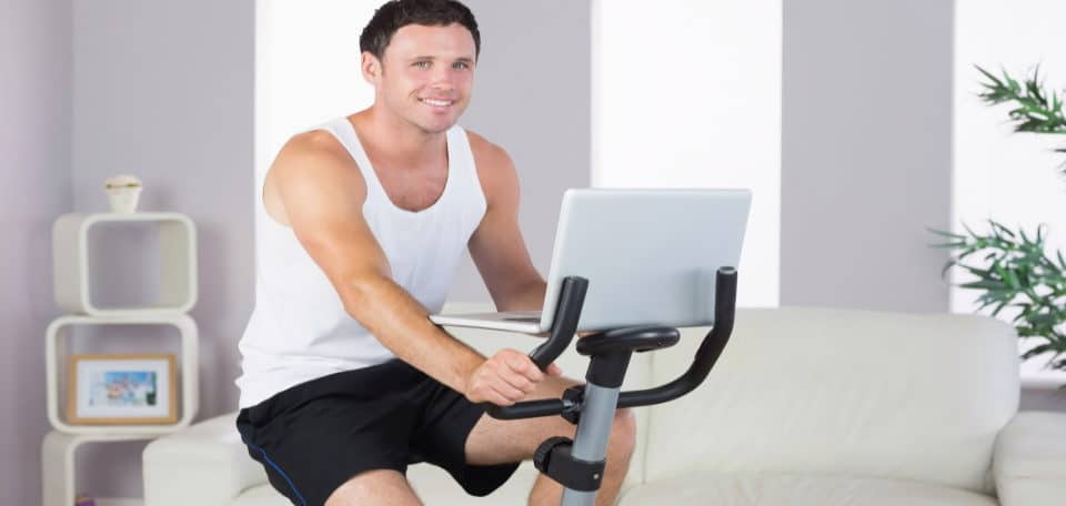 a man exercising his room