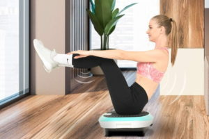 a woman sitting on a Vibration Platform Machine