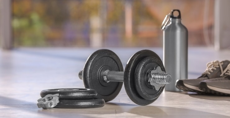 an adjustable dumbbell next to two weight plates