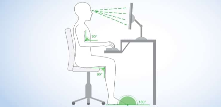 image showing a seated person with correct posture
