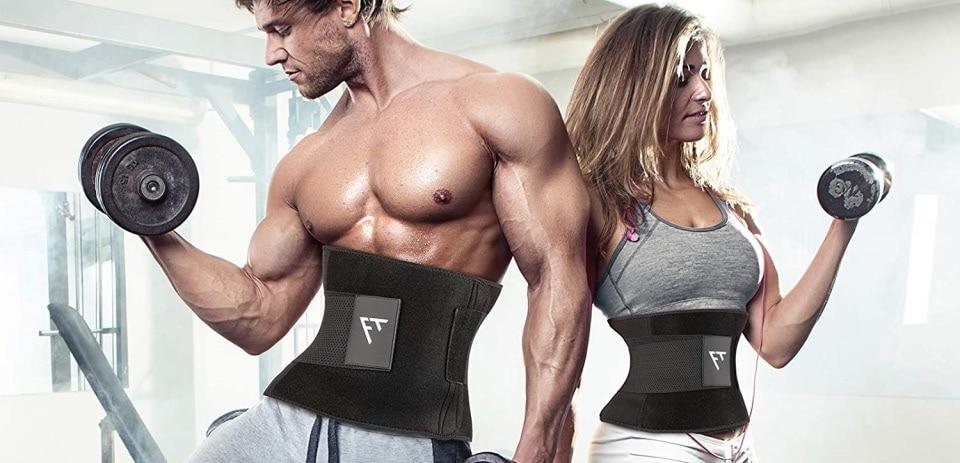 two people wearing waist trimmer belts