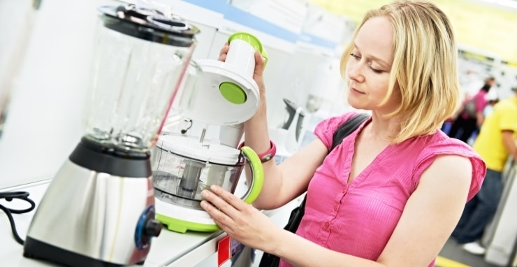 a woman shopping at a home appliance supermarket