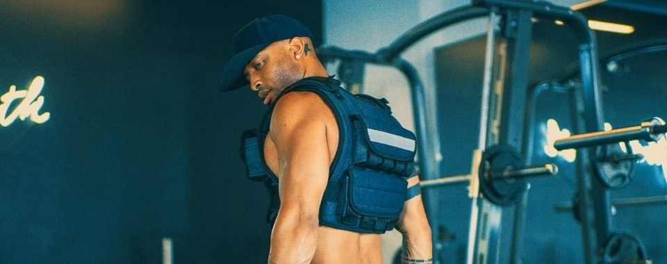 young athlete with weighted vest